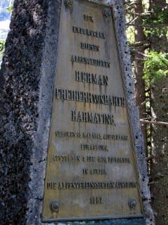 Herman v. Barth Denkmal am kleinen Ahornboden.